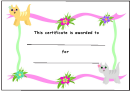 Kids Award Certificate Template - Cats And Flowers
