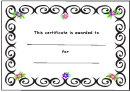 Kids Award Certificate Template - Black Borders And Flowers