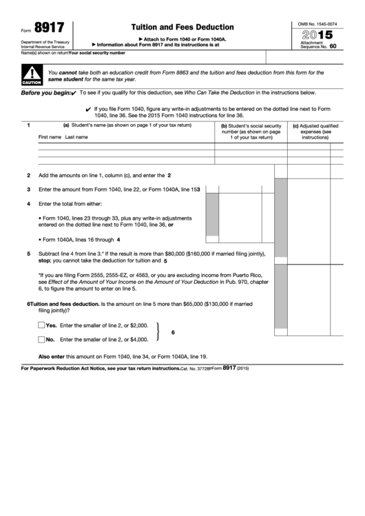 Top 7 Form 8917 Templates Free To Download In Pdf Format