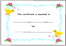 Kids Award Certificate Template - Chicks And Flowers
