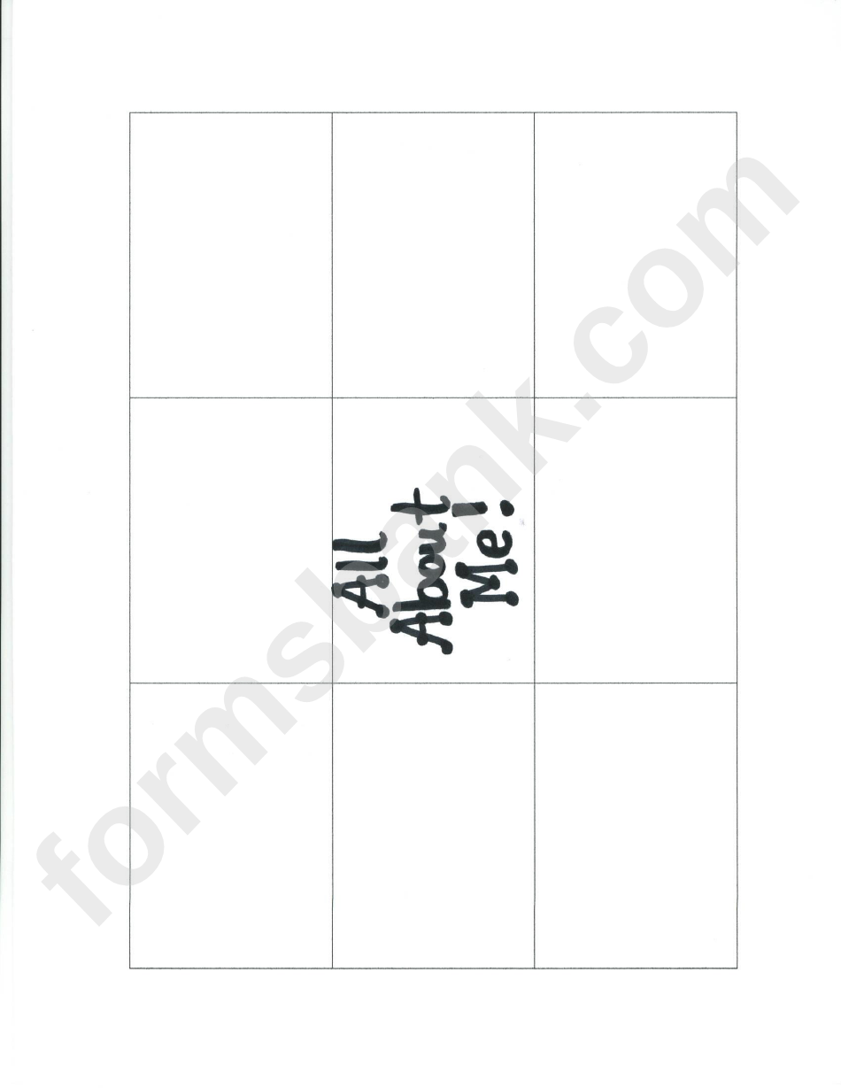 Blank All About Me Flash Card Template Printable Pdf Download