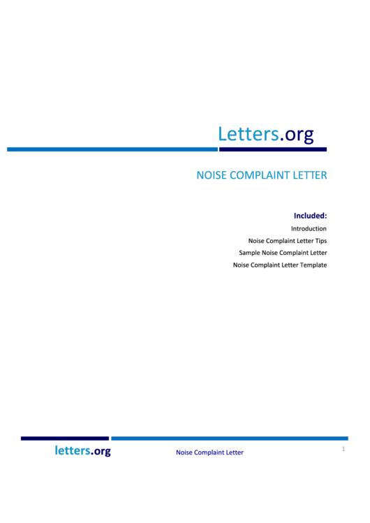 Noise Complaint Letter Template