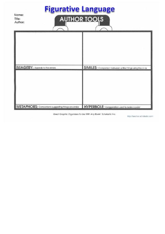 Figurative Language Literature Worksheet