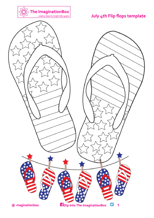 July 4th Flip Flops Template And Coloring Sheet