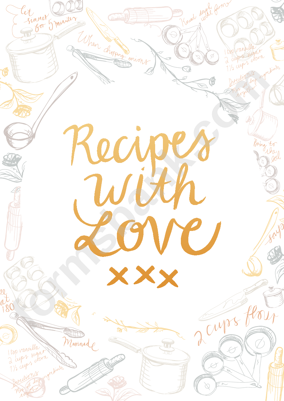 Recipe Book Cover Template printable