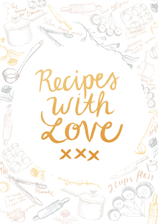 Recipe Book Cover Template printable pdf download