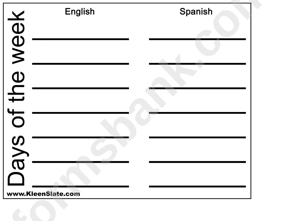 English Spanish Worksheet Days Of The Week Printable Pdf Download