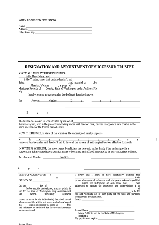 Resignation And Appointment Of Successor Trustee Form Printable pdf