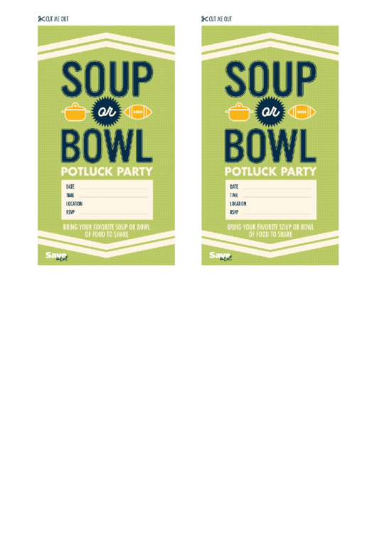 Soup Or Bowl Party Invitation Template