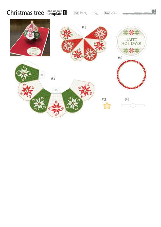 Christmas Tree Pop-Up Card Template Printable pdf