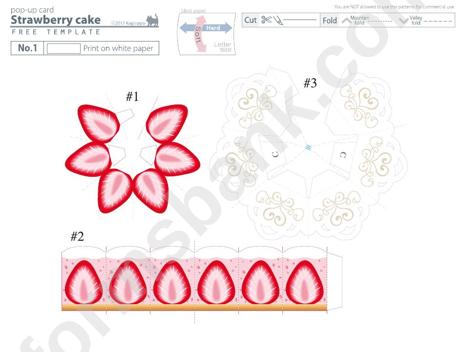 Strawberry Cake Pop-Up Card Template