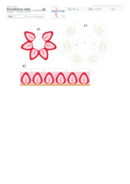 Strawberry Cake Pop-Up Card Template Printable pdf