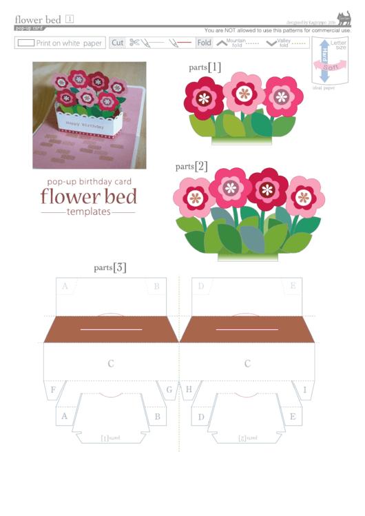 Flower Bed Pop-Up Card Template Printable pdf