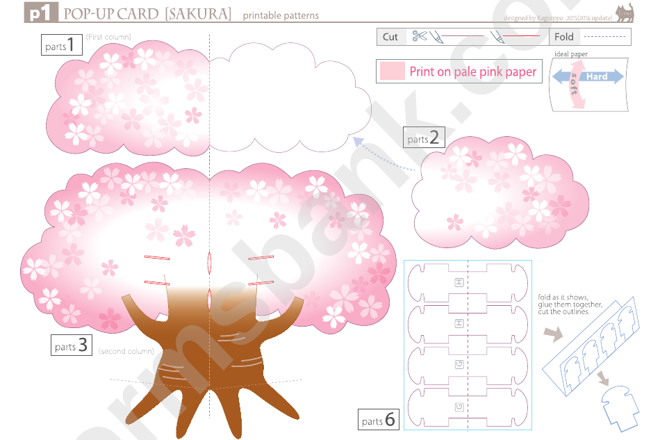 Sakura Tree Pop-Up Card Template Printable Pdf Download