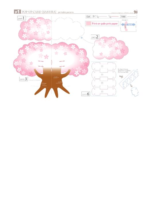 Sakura Tree Pop-Up Card Template Printable pdf