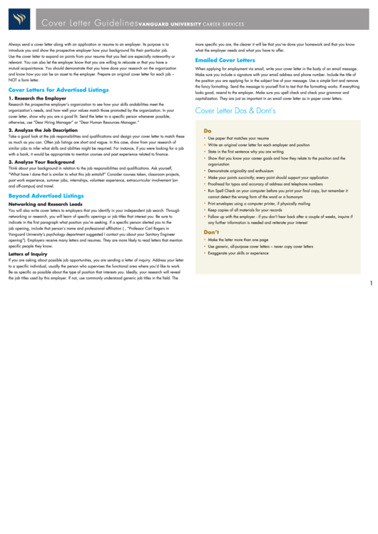 Cover Letter Guidelines Printable pdf