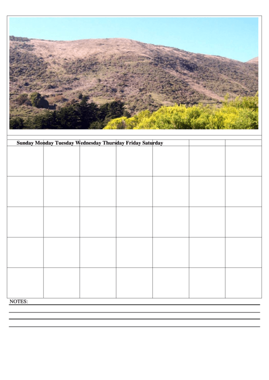 Nature Weekly Calendar Template