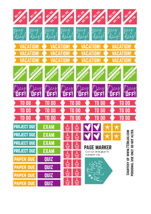 Planner Stickers Templates