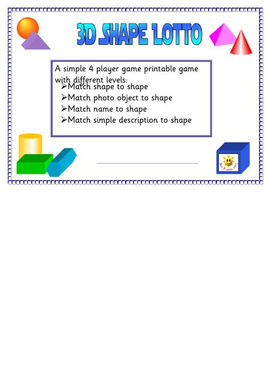 3d Shape Lotto Game Board Template