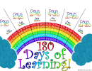 180 Days Of Learning Goal Tracking Sheet - Full Color Rainbow