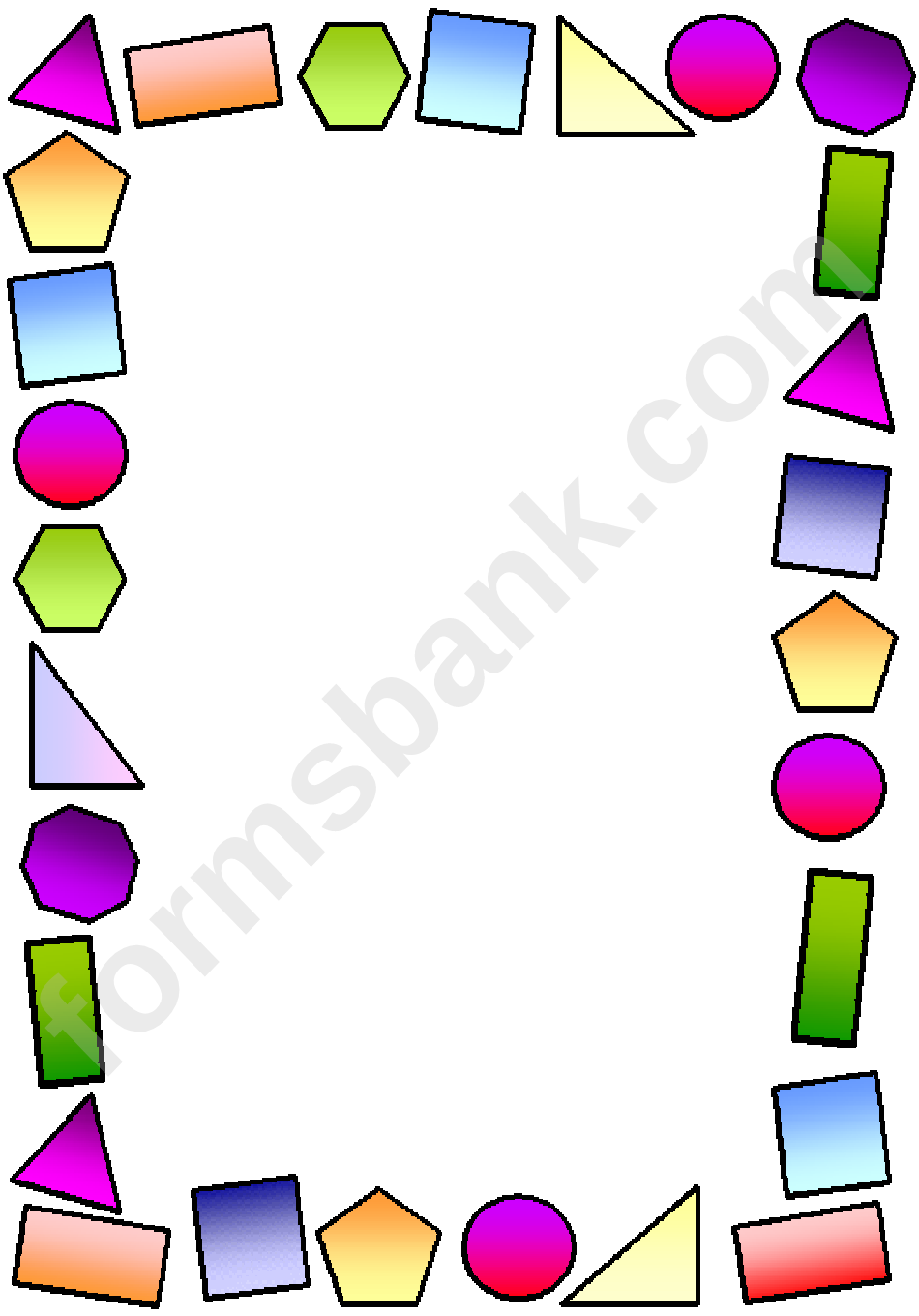 Multicolor Shapes Page Border Template