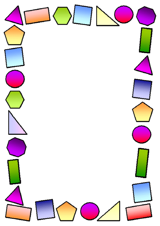 Multicolor Shapes Page Border Template Printable pdf