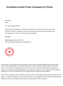 Invitation Letter From Company In China Template