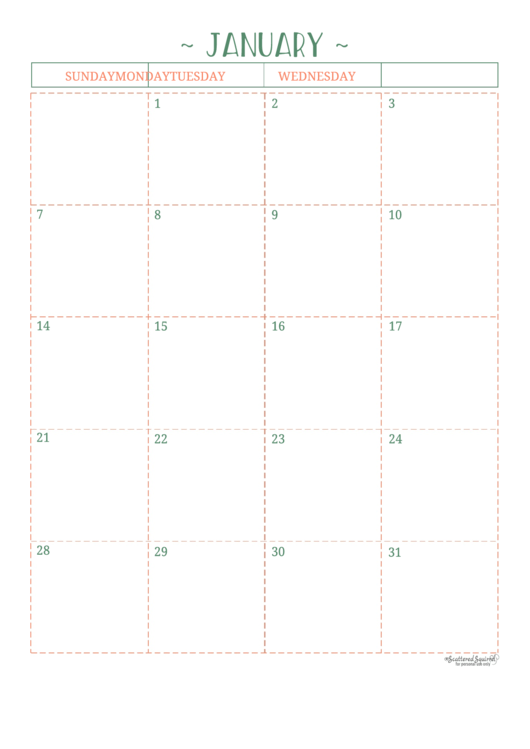 Blank Yearly Calendar Template - Scattered Squirrel