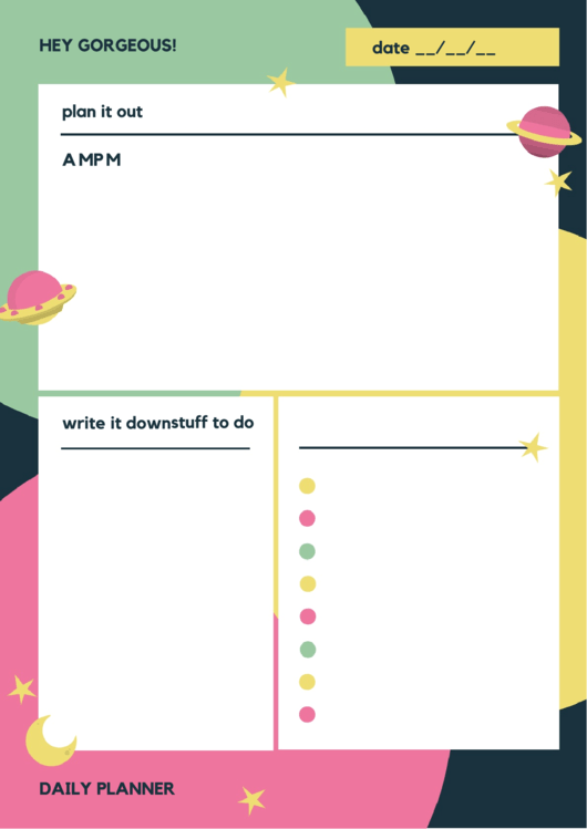 Hey Gorgeous Daily Planner Template Printable pdf