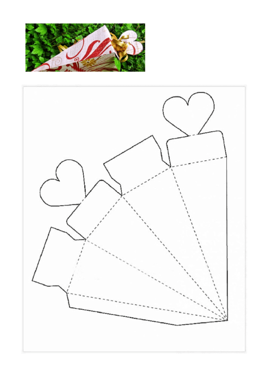 Cone Gift Box With Hearts Template Printable Pdf Download
