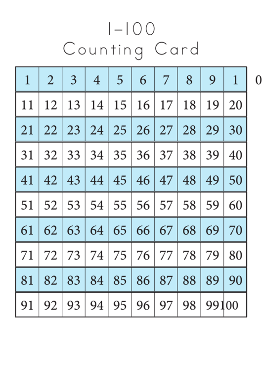 1-100 Counting Card Template