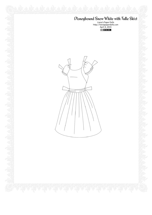 Disneybound Snow White With Tulle Skirt Paper Dress Template - Black & White