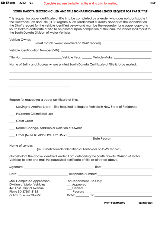 Fillable Form 2222 - South Dakota Electronic Lien And Title Nonparticipating Lender Request For Paper Title Printable pdf