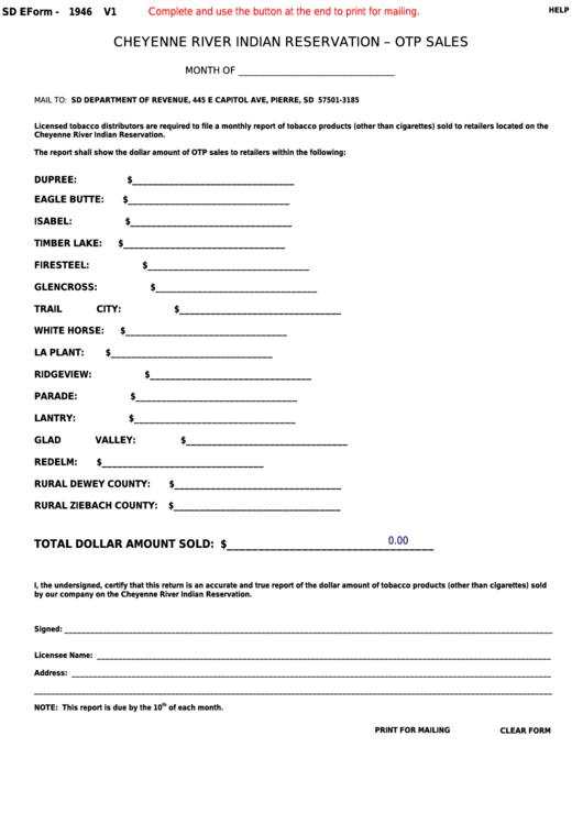 Form 1946 - South Dakota Cheyenne River Indian Reservation Otp Sales Printable pdf