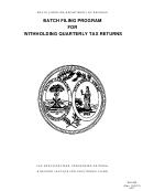 Form Wh-405 - Batch Filing Program For Withholding Quarterly Tax Returns - South Carolina Department Of Revenue