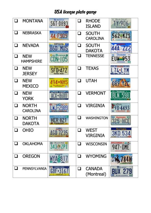 usa license plate game template printable pdf download