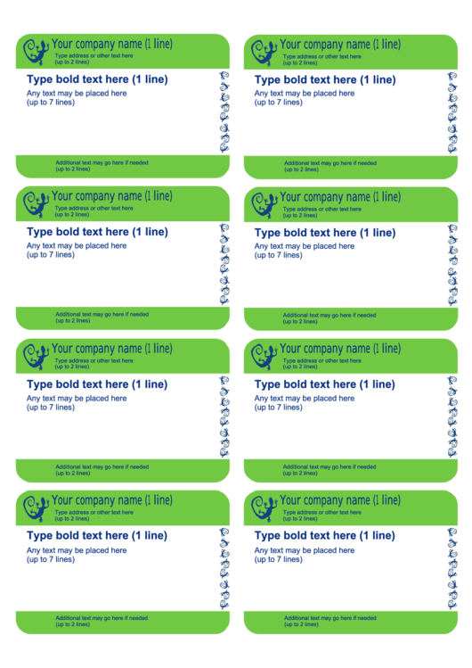 Blue/green 8-up Business Card Template