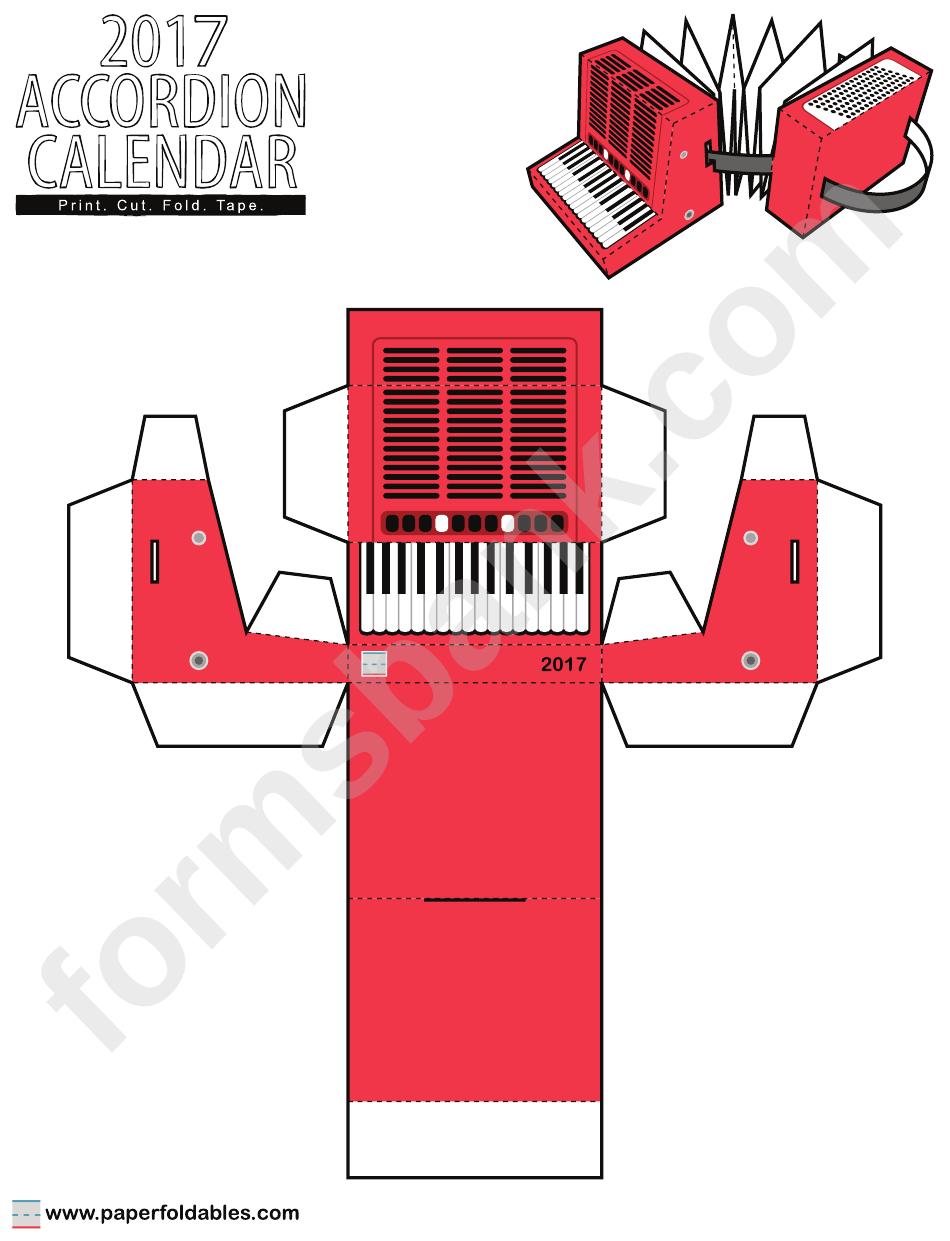 2017 accordion calendar foldable template printable pdf download