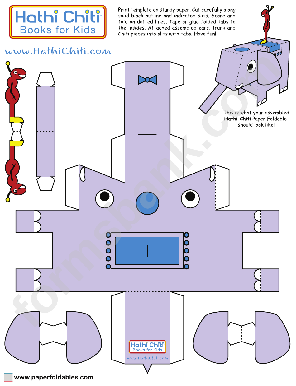 hathi chiti foldable template printable pdf download