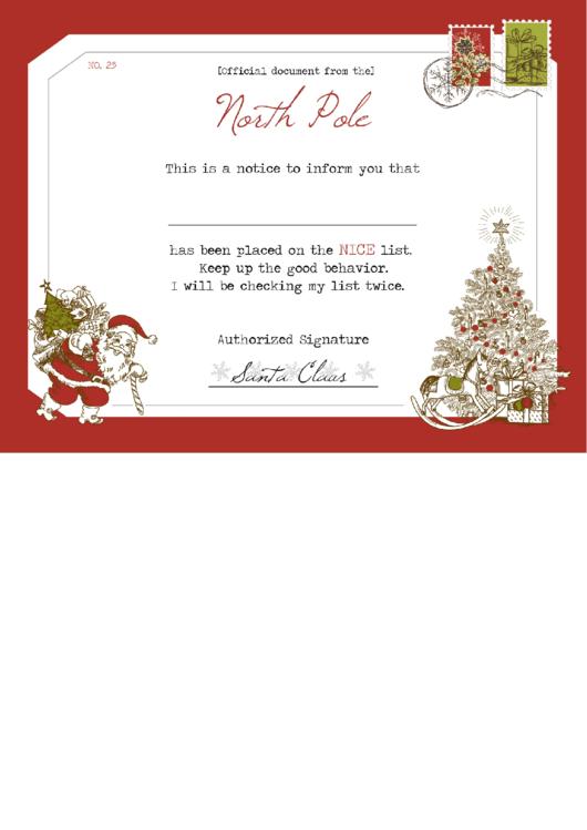 Santa's Notice Certificate Template