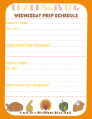 Thanksgiving Wednesday Prep Schedule Template