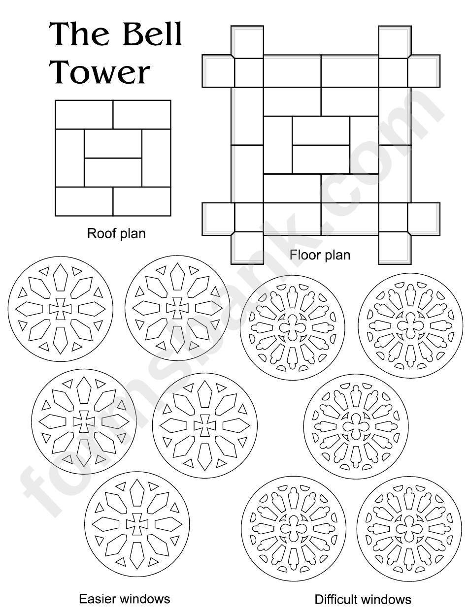 The Bell Tower Pop Up House Template printable pdf download