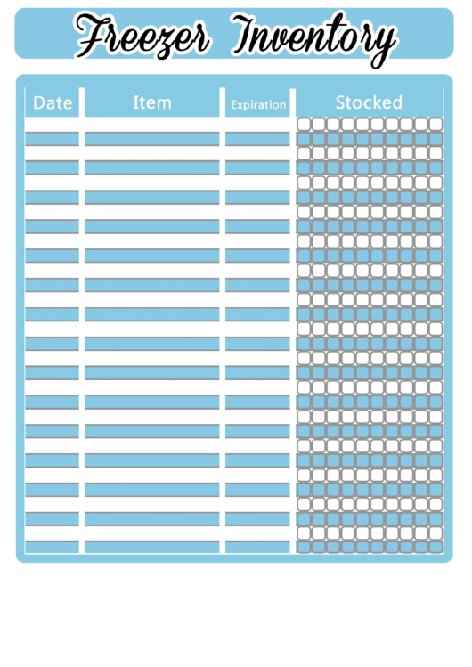 Blue/white Freezer Inventory Spreadsheet