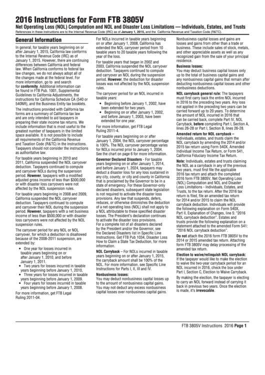 Instructions For Form Ftb 3805v - Net Operating Loss (Nol) Computation And Nol And Disaster Loss Limitations - Individuals, Estates, And Trusts - 2016 Printable pdf