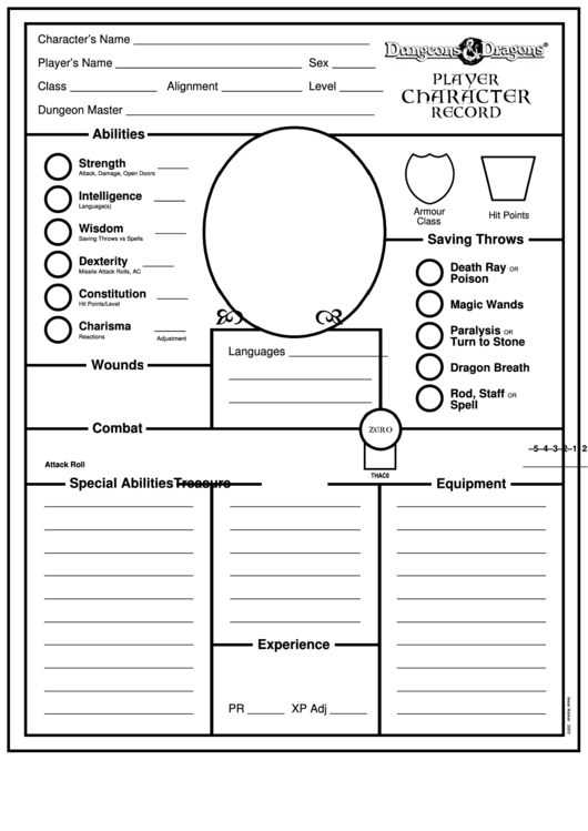 dungeons and dragons character record sheet pdf