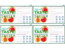 Taste Test Comment Card Template