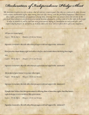 Declaration Of Independence Pledge Sheet