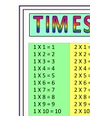 A2 Multiplication Chart 10x10 - Yellow/green