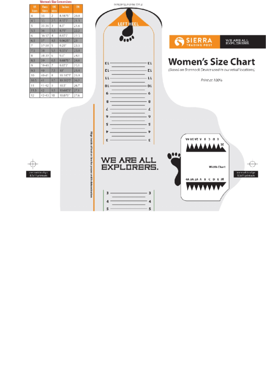 Sierra Women Shoe Size Chart printable pdf download