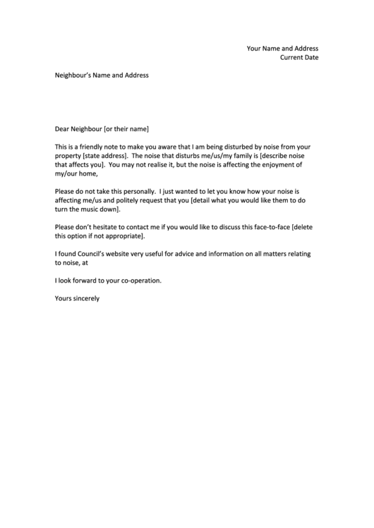 Apartment Noise Complaint Letter Template